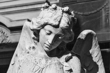 angel cemetery: Sad angel stone statue, Recoleta cemetery.