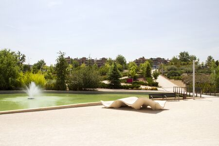 City park Juan Pablo 2 in the summer. Spain, Madrid. Stock Photo