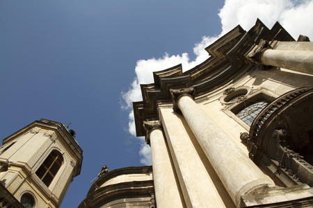 Dominican church and monastery view in the sky. Lviv, Ukraine.