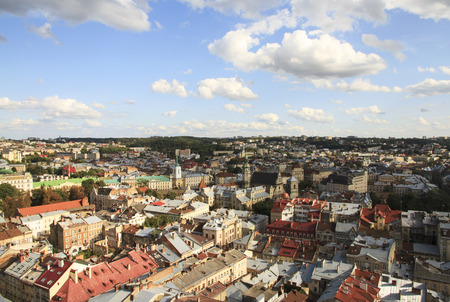 City landscape from height. Old Lviv, Ukraine.