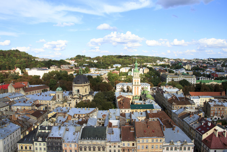 Lviv center view from height. Historical city, Ukraine. Stock Photo