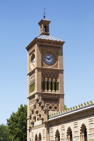 Toledo railway station. Tower with clocks. Spain style.