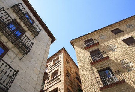 Spanish traditional old houses. Toledo city, Spain. Stock Photo