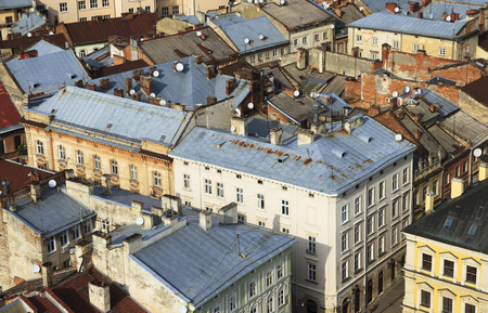 Old houses and roofs top view. Lviv, Ukraine.