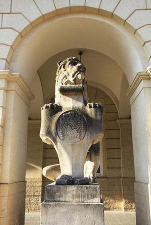 Lion symbol monument, Town hall. Lviv, Ukraine. Stockfoto