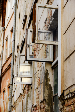 Old houses window vents open. Lviv. Stock Photo