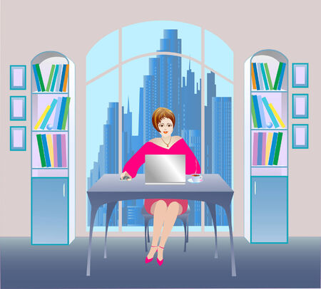female boss: illustration of businesswoman in a  office