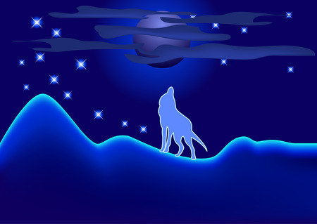Night landscape with wolf, cloud and full moon Vector