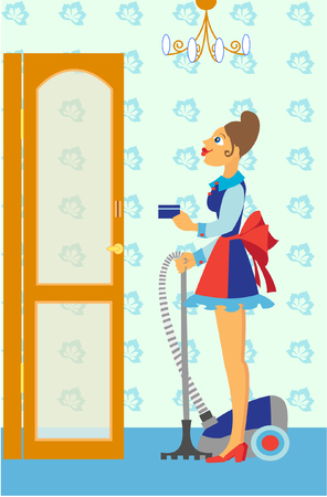 Chambermaid with the vacuum cleaner Vector
