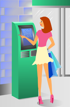 pay wall: girl at ATM machine Illustration