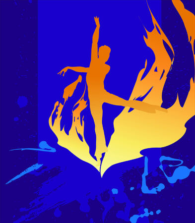 flamy: flamy silhouette on the  dark blue background Illustration