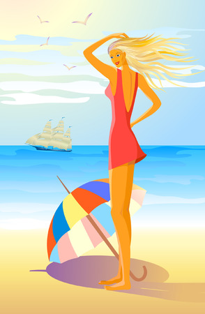 girl with colorful umbrella on the beach Vector