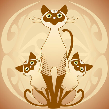 Cats family. Vector illustration Vector