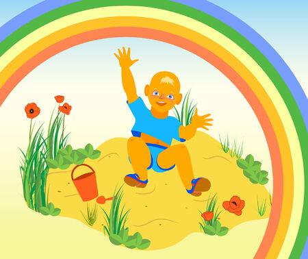 sandpit: Ilustraci�n de un muchacho que se divierten en la arena
