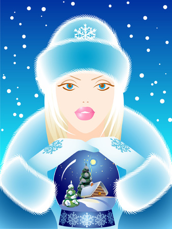 maiden: Snow Maiden with a gift. Vector illustration