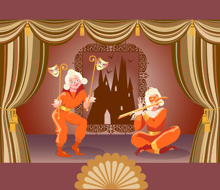 joker card: Illustration of a stage and two clowns.