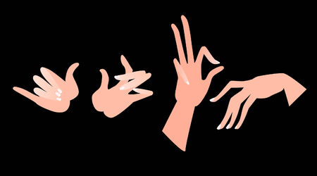 thumbnail: Illustration of hands in different positions. Vector.