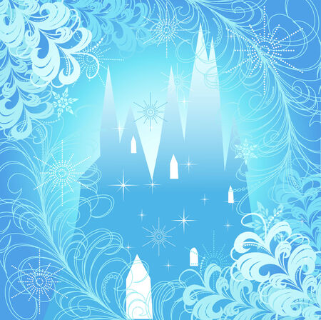 Christmas design with castle. Vector illustration.