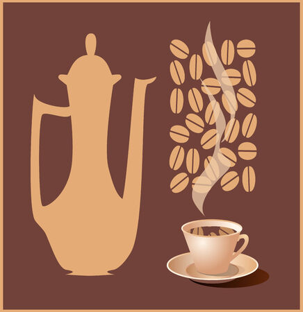 coffeepot: Illustration of a coffeepot and a cup of coffee. Vector.