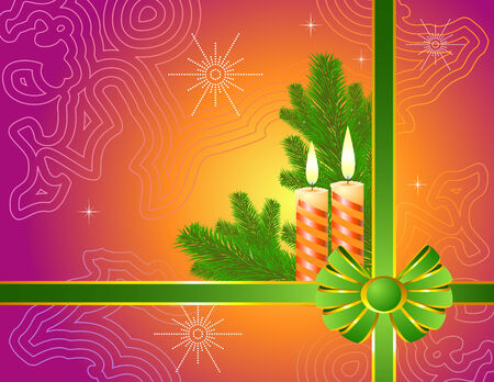 taper: Christmas design with a candles. Vector illustration.