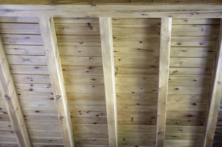 roof beam: Interior view of a wooden roof structure with wood beam Stock Photo