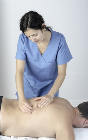 s shape: Physiotherapist doing a massage technic in S shape.