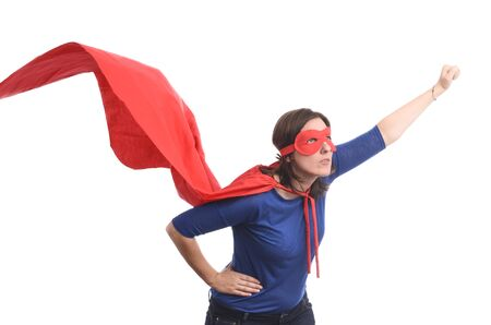 Woman superhero with red cape, white isolated.