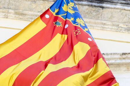 autonomic: Detail of flag of Comunidad Valenciana, region in Spain.
