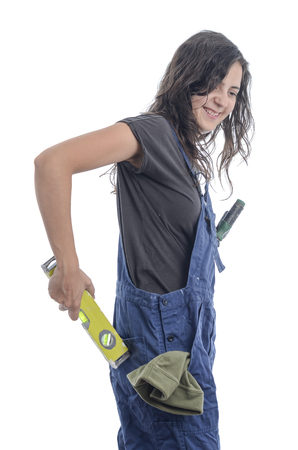 make over: Worker woman make a fool of yourself over white background. Stock Photo