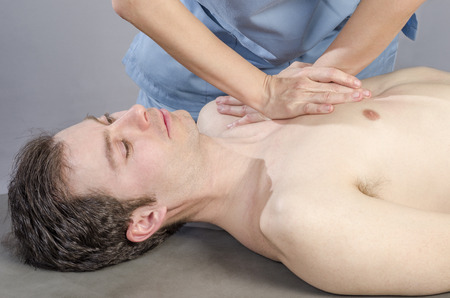 purifying: Physiotherapist is doing a liver viscero fascia.