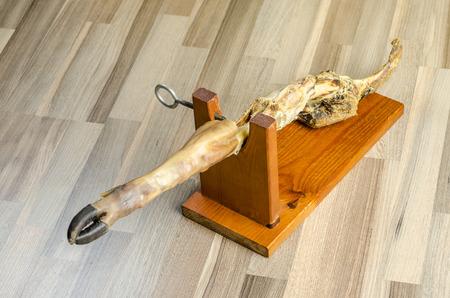 serrano: Leg of serrano ham finished over wood.