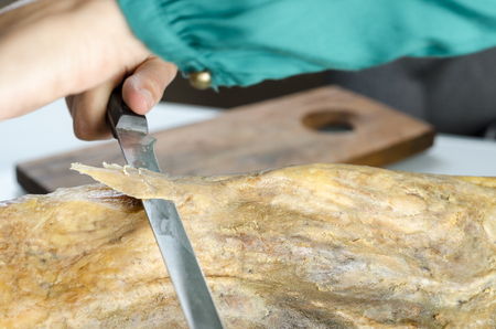 iberico: Slicing Spanish jamon iberico (serrano ham)