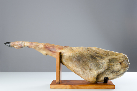 cured: Cured iberian ham leg, bellota ham. Gourmet spanish food