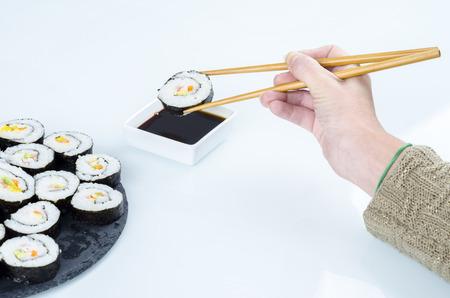 philadelphia: Maki sushi, rolls on slate plate. Stock Photo