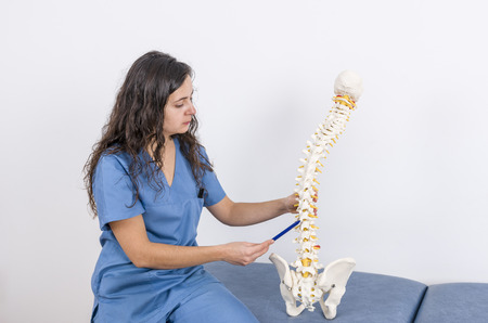 spinal disks: Doctor showing a skeleton to a patient. Back pain. Stock Photo