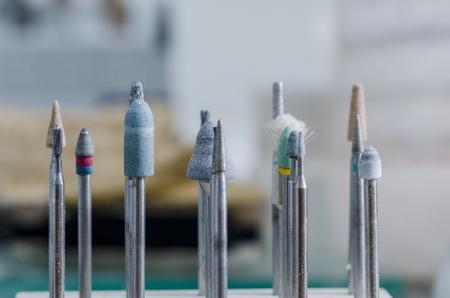 palate: Tools of a dental technician, dental burs in a laboratory.