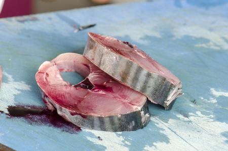 Long fin tuna on ice at the fish market