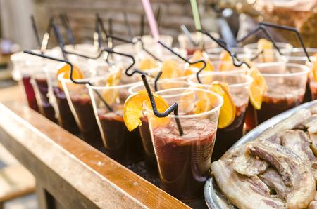 Sangria, spanish drink in Medieval market.