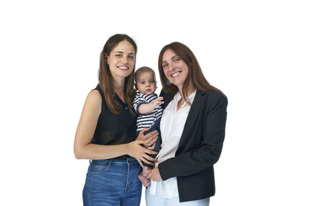 Homosexual family, young lesbian mothers with their baby. Lesbian love