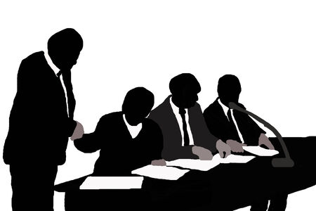 just arrived: businessmen and woman sitting at the table. One of them just arrived and shaking hand with the others. On the table there are papers, microphon, files.