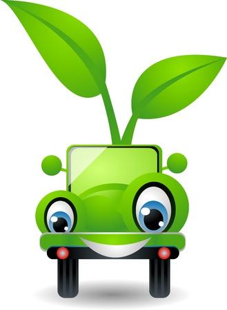 dessin animé cartoon voiture avec le concept vert