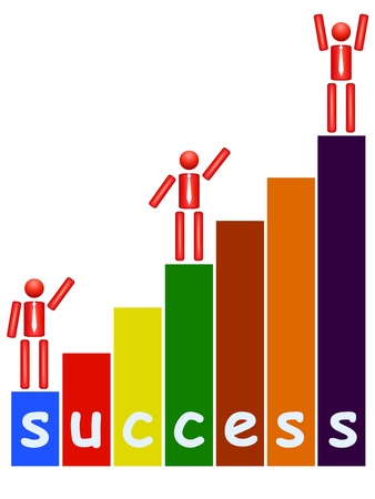 successful leadership: man with a ladder to success Illustration