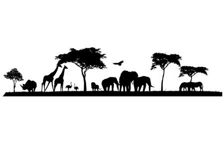 silueta de safari de la fauna
