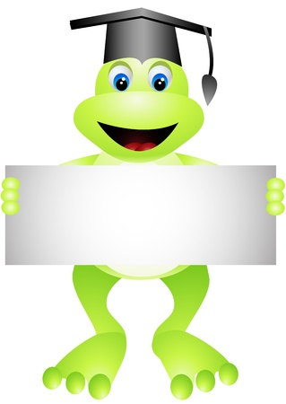 cute frog: cartoon frog with blank sign