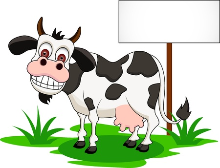 dairy cows:  cute cow cartoon with blank sign