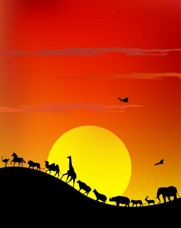 silhouette of wildlife safari Vector