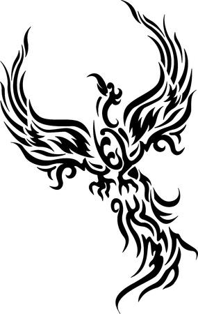 tatouage oiseau: phoenix oiseau tatouage Illustration