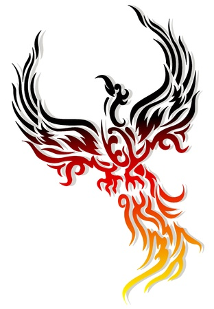 phoenix bird tattoo Vector