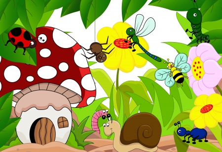 cricket insect: cartoon illustration of funny insects