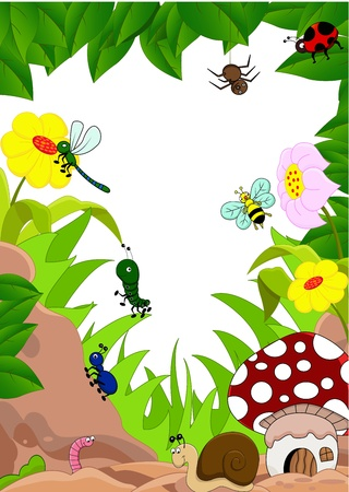 cartoon illustration of funny insects Vector